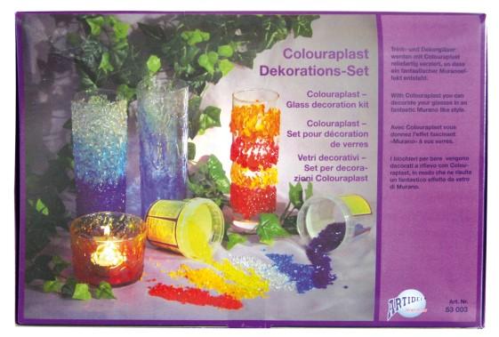 55.003 Hobbyfun Colouraplast smeltgranulaat glasdecoratie set
