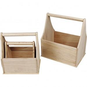 57596 Hobbyfun Flessenhouder of houten mand, set 3 stuks