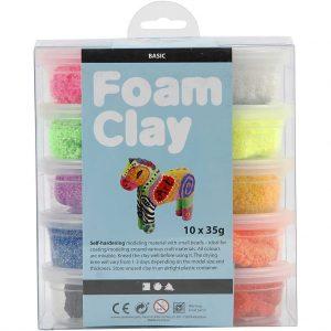 Hobbyfun Foam Clay®, basiskleuren, 10x35gr