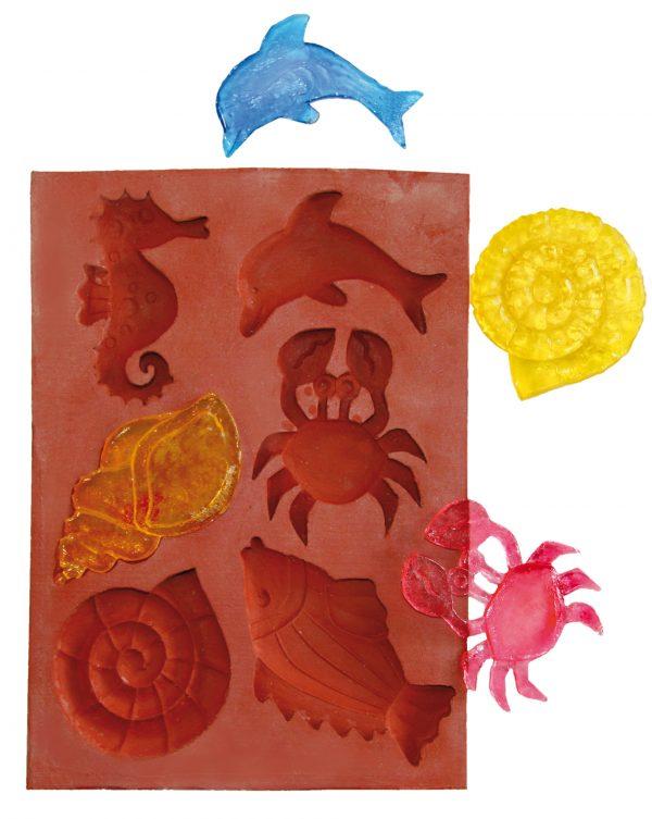 Hobbyfun Siliconen mal zeedieren met voorbeeld