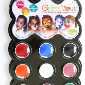 Grim'tout schminkset Carnaval, 9 kleuren