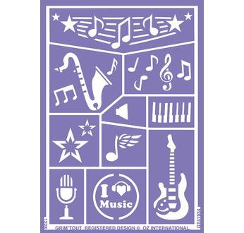 GT41934 Zelfklevend sjabloon Muziek