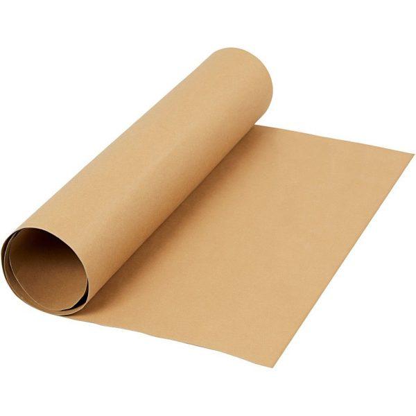 Faux Leather Papier, lichtbruin, rol 1m