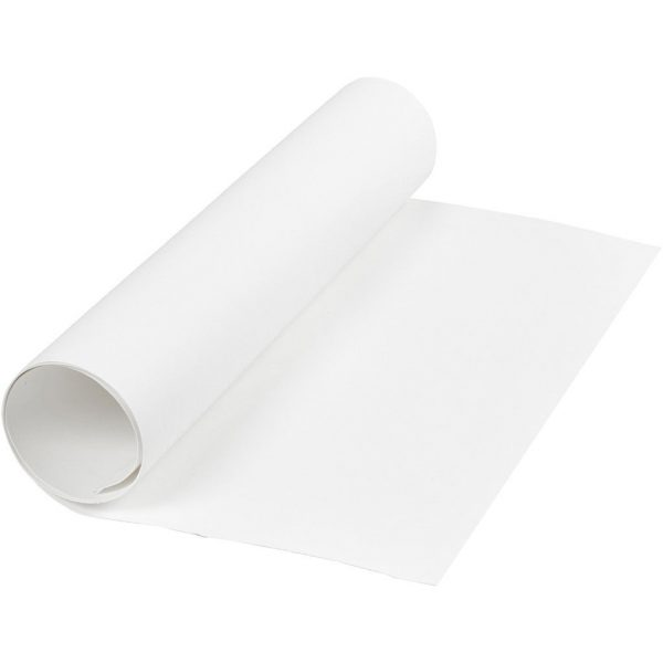 Faux Leather Papier, wit, rol 1m