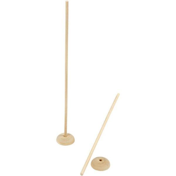 Stok met voet, d: 6,5 cm, gatgrootte 8 mm, gemengd hout, 5sets, h: 30