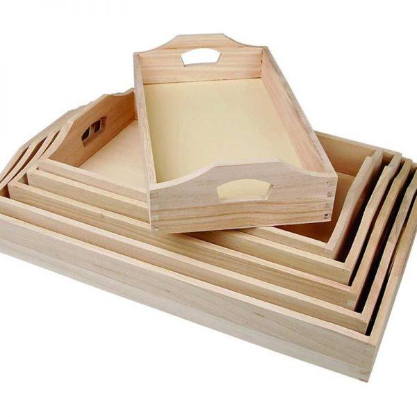 houten dienbladen, set 6 stuks