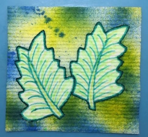Hobbyfun sponsdoek gedecoreerd met Diam's textiel stiften