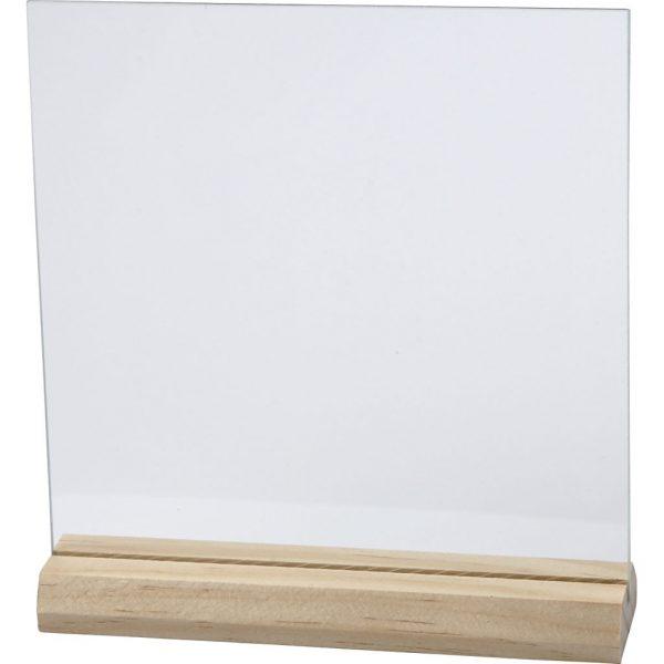 Hobbyfun Glazen plaat met houten voet