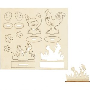 Hobbyfun DIY Houten figuren, kippen en bloemen