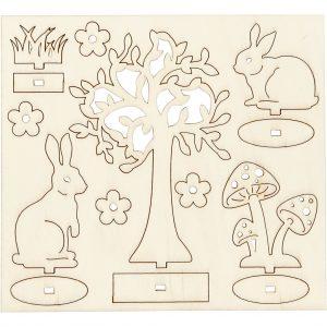 Hobbyfun DIY Figuren, boom en konijnen, triplex