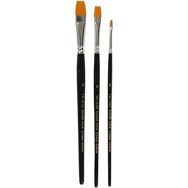 Hobbyfun Gold Line penselen, 2+8+12, plat, 3stuks