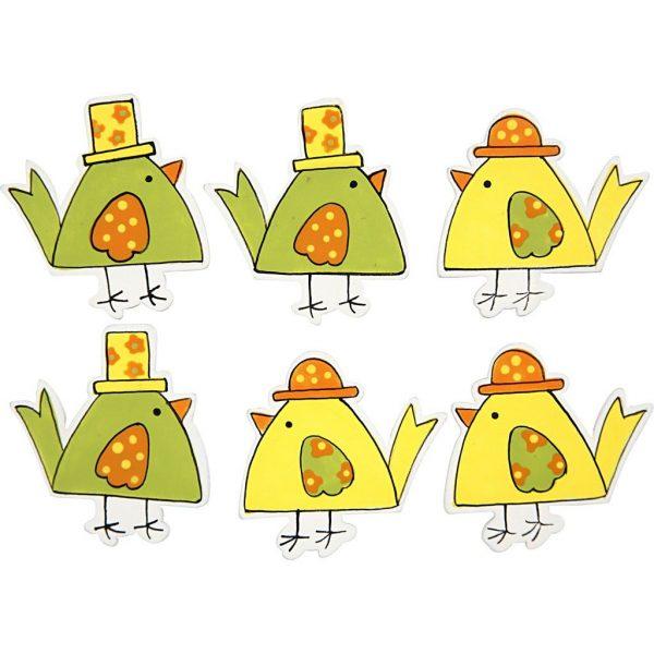 Hobbyfun Decoratie kippen, 2designs, 6stuks, zelfklevend