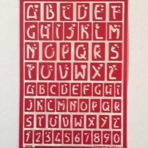 Hobbyfun Zelfklevend sjabloon alfabet-hartjes