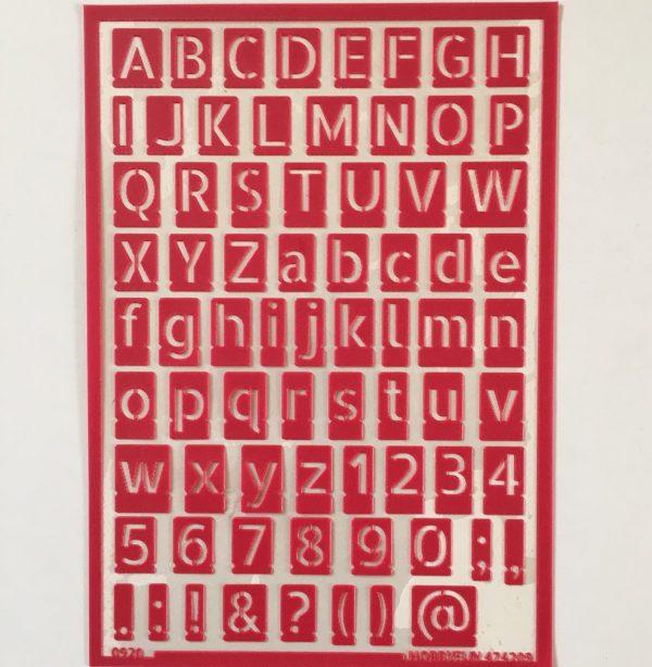 Hobbyfun Zelfklevend sjabloon alfabet-strakke-letters