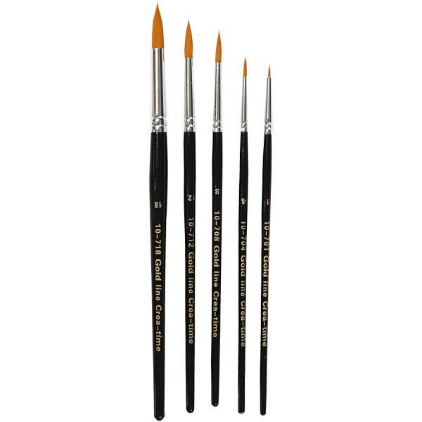 Hobbyfun Gold Line penselen, rond, 5stuks