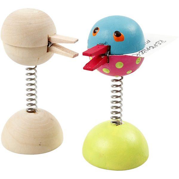 Hobbyfun Knijper met veer, vogel of grappig figuur