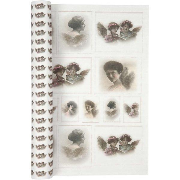 Hobbyfun Design Papier, Vintage engelen, 120 gr, 5 vel.