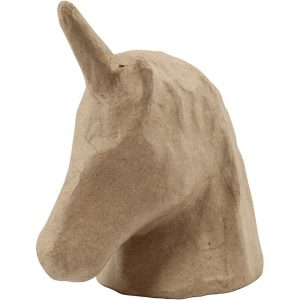 50420 Hobbydun, Papier-maché eenhoorn, H: 18,5cm