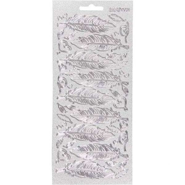 170191 Hobbyfun Contour stickers, veren, zilver