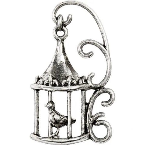 63222 Hobbyfun Hanger vogelhuis, antiek zilver