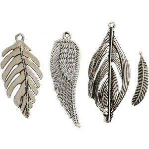 63711 Hobbyfun, Hanger veren, antiek zilver