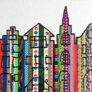 Hobbyfun canvas paneel met masking tape en Diam's 3D verf